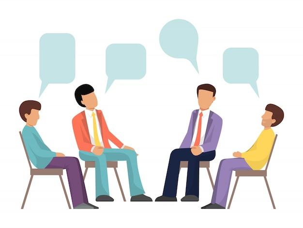 Männerfiguren sitzen im kreis und sprechen mit sprechblasen