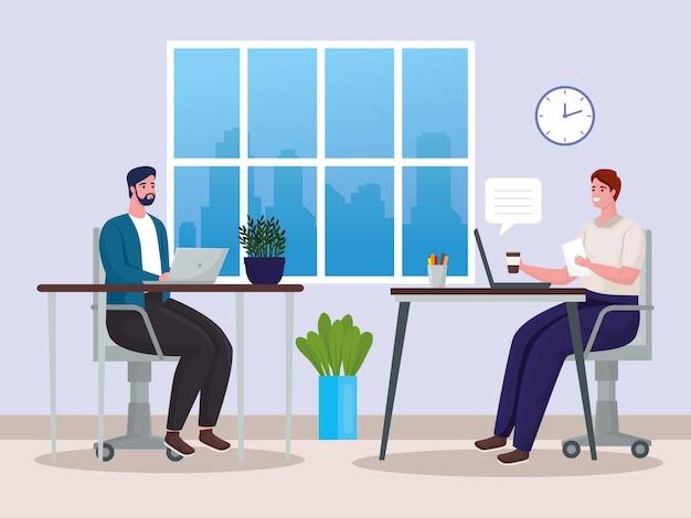 Männerpaar, das technologie für online-treffen am arbeitsplatz nutzt