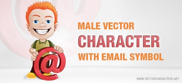 Männlich vektor-zeichen mit e-mail-symbol
