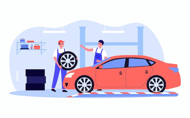 Männliche arbeiter, die flache vektorillustration des autos reparieren. fröhliche männer in uniform ersetzen reifen. autoservice, diagnose, transportkonzept für banner, website-design oder landing-webseite