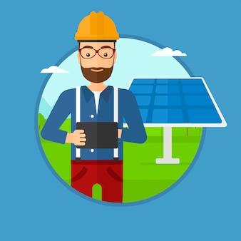 Männliche arbeitskraft des sonnenkraftwerks.