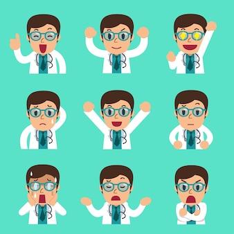 Männliche arztgesichter der karikatur, die verschiedene emotionen zeigen