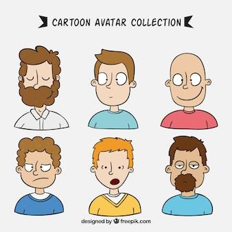 Männliche avatare mit hand gezeichneten stil