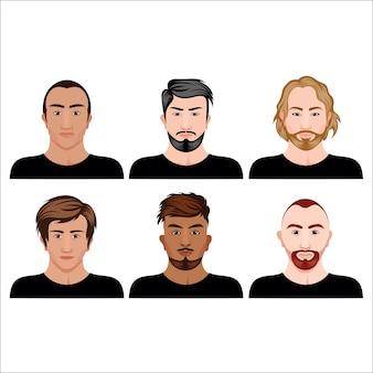 Männliche avatarsammlung mit verschiedener frisur- und bart- und hautfarbe