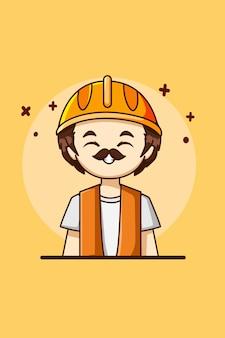 Männliche bauarbeiter-arbeitstag-karikaturillustration