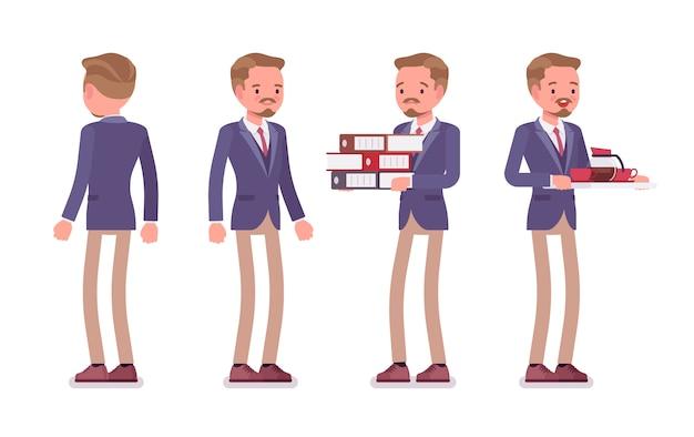 Männliche bürosekretärin. kluger mann, der jacke und dünne hose trägt, bei der arbeit hilft, stehende haltung. business workwear trend und stadtmode. stil cartoon illustration, vorne, hinten