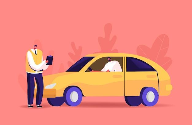 Männliche charakter-pass-prüfung für den führerschein in der schule mit instruktor. lernender autofahren mit tutor schreiben in zwischenablage