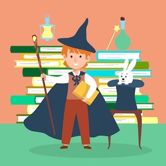 Männliche charakter zauberer kind schule magische zeit illustration. wunderbuch kompositionen konzeptbuchstapel, zauberei hut kaninchen.