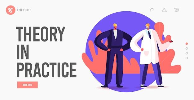 Männliche charaktere arbeiten an der factory-landing-page-vorlage. männer in arbeiter-outfit, weißer robe und helmen auf industrieller fertigungskontrolle. automatisierter engineering-prozess. cartoon-menschen-vektor-illustration