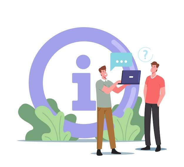 Männliche charaktere lesen informationen über laptop in der nähe von riesigem info-schreibtisch-symbol. menschen in supermärkten, flughäfen oder einkaufszentren stellen fragen, suchen informationen und unterstützung. cartoon-vektor-illustration