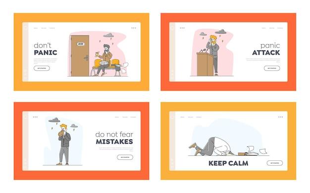 Männliche charaktere mit panic attack landing page template set.