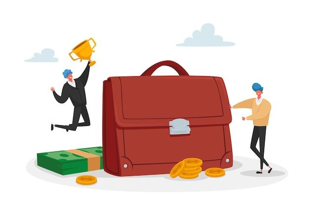 Männliche charaktere von kleinen investoren in der riesigen aktentasche feiern den sieg mit dem goldenen kelch