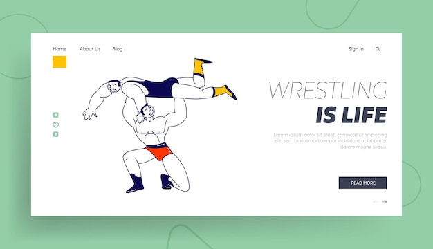 Männliche charaktere wrestling fight landing page template.
