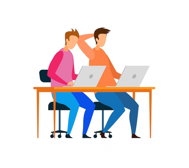 Männliche entwickler, die an laptop-charakteren arbeiten