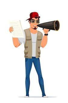 Männliche figur des filmregisseurs mit skriptpapierblättern in den stehenden händen