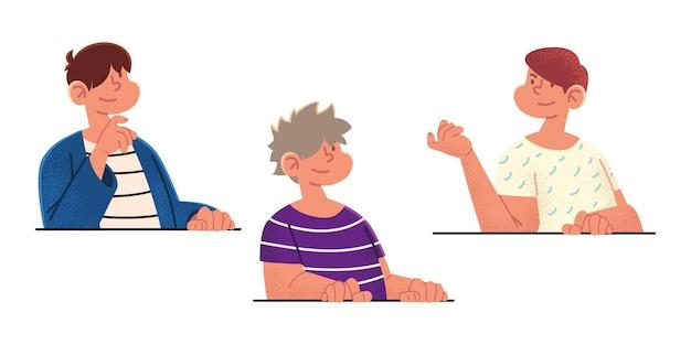 Männliche figur des karikaturjungenporträts
