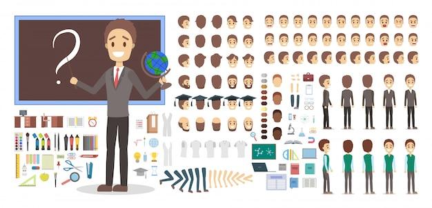Männliche figur des lehrers in uniform oder kit für animation mit verschiedenen ansichten