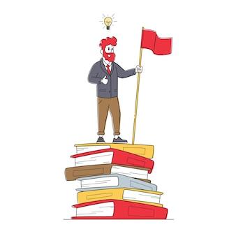 Männliche figur stehen auf riesigen bücherstapel mit roter fahne