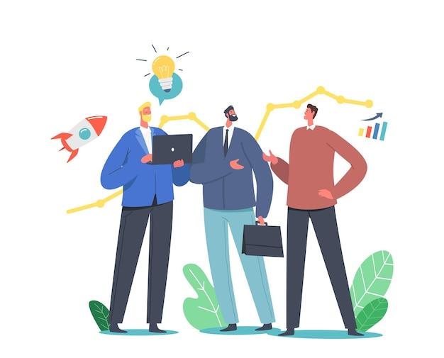 Männliche geschäftsleute kommunizieren mit dem versuch, die aktienwirtschaft vorherzusagen, um das wachstum des finanziellen nutzens zu erzielen. vorhersage von markttrends, geschäftsprognosekonzept. cartoon-menschen-vektor-illustration
