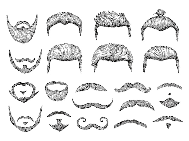 Männliche haarskizze. bart, schnurrbart gesichtselemente.