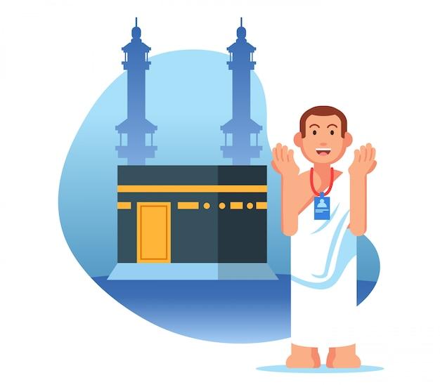 Männliche hadsch-pilgerfahrt beten in der nähe von kaaba
