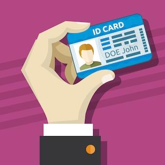 Männliche hand, die ausweiskarte mit fotovektorillustration hält