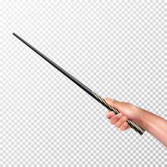 Männliche hand, die langen schwarzen zauberstab mit muster auf realistischer vektorillustration des transparenten hintergrundes hält