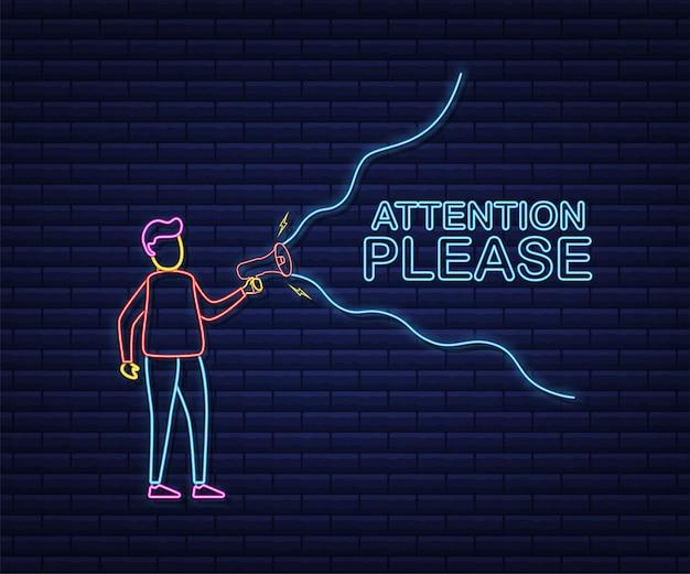 Männliche hand, die megaphon mit aufmerksamkeit hält, bitte sprechblase. lautsprecher. banner für business und marketing. neon-stil. vektorgrafik auf lager.