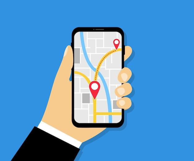 Männliche hand, die telefon mit karte und zeiger hält navigations-app mit karte