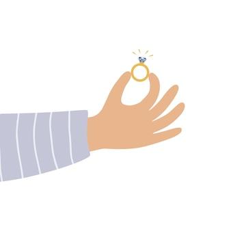 Männliche hand, die verlobungsring im flachen stil hält. vektor-valentinstag-grußkarte im flachen stil