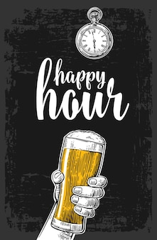 Männliche hand hält ein bierglas vintage-vektor-gravur happy hour