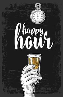 Männliche hand hält ein tequila-glas vintage-vektor-gravur happy hour