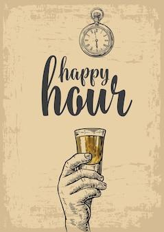 Männliche hand hält ein tequila-glas vintage-vektor-gravur-illustration happy hour