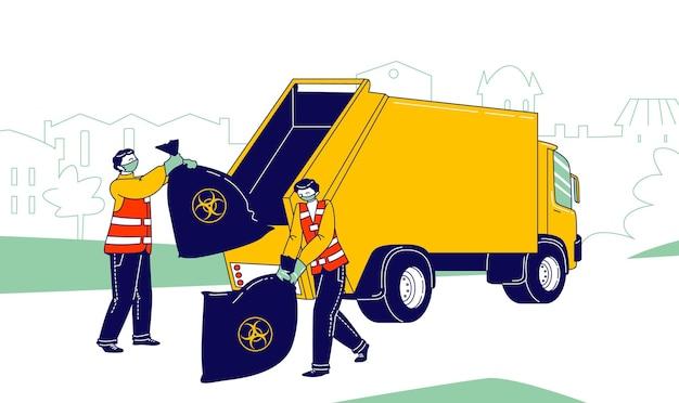 Männliche hausmeister charaktere in schutzmasken sammeln und laden von covid waste