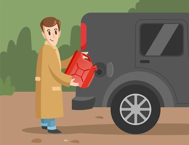 Männliche karikaturfigur, die benzin ins auto gießt