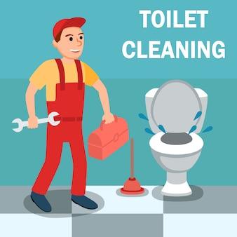 Männliche klempner-karikatur mit schlüssel-werkzeug nahe toilette