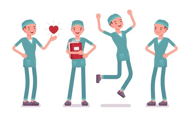 Männliche krankenschwester in positiven gefühlen