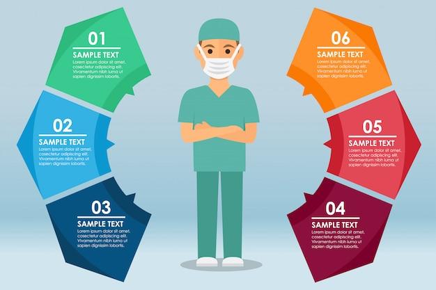 Männliche krankenschwester stehend mit einer infografik