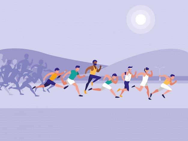 Männliche leichtathletik race avatar charakter