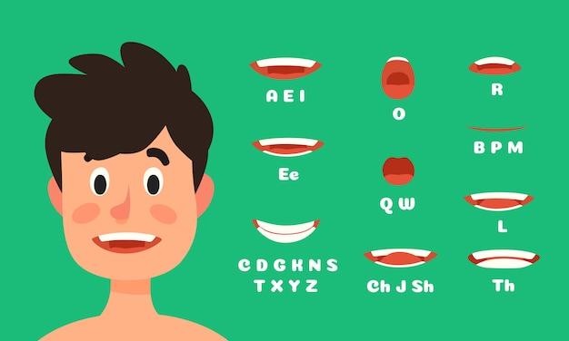 Männliche lippen synchronisieren animation, die mundausdrücke des manncharakters sprechend und sprechen die flachen gesichtsanimationen