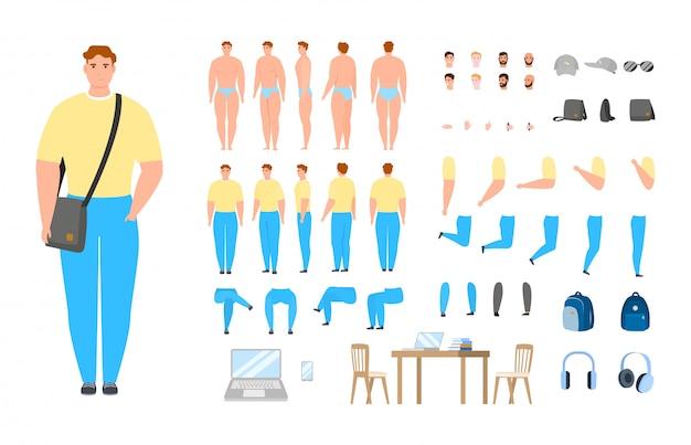 Männliche männliche zeichensatzillustration des mannkonstruktors isoliert.