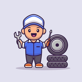 Männliche mechaniker-cartoon-illustration. people profession icon konzept