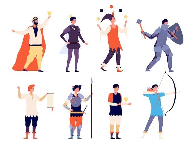 Männliche mittelalterliche charaktere. flacher könig, prinz narrenritter. isolierte bücher oder märchenhelden, historische männer