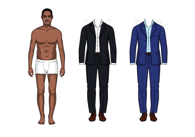 Männliche papierpuppe mit anzügen