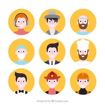 Männliche profis avatare mit flachen design