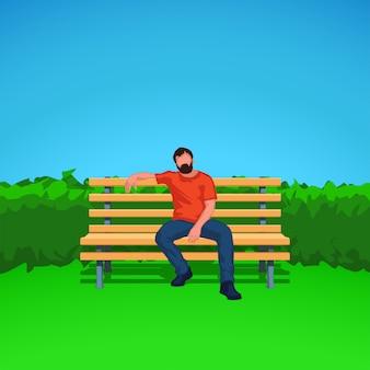 Männliche silhouette auf bank