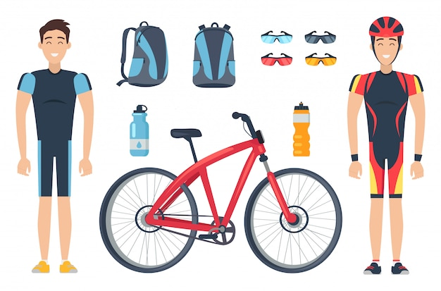 Männliche sportler in spezialkleidung in der nähe von roten fahrrädern