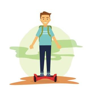 Männliche studenten fahren hover board um zu pendeln