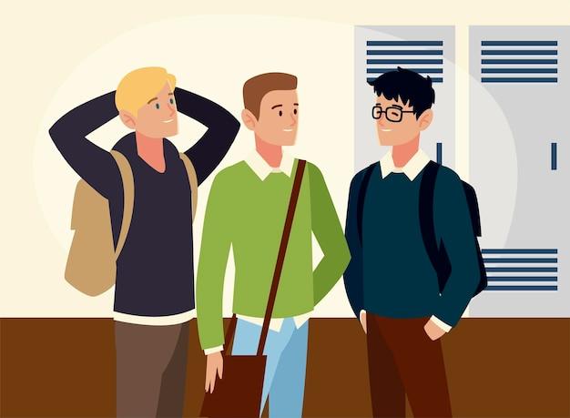 Männliche studentencharaktere mit rucksäcken in der hallenbildillustration
