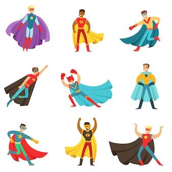 Männliche superhelden in klassischen comic-kostümen mit umhängen set von lächelnden flachen zeichentrickfiguren